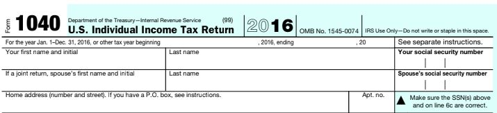 The top of the 1040 2016 PDF form for filing taxes